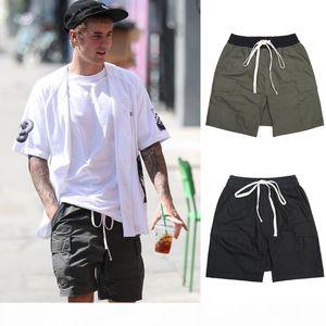 Fear Of God FOG Essentials Cargo Pocket Shorts Black Olive Green Cargo Shorts Drawstring Drop Crotch Shorts Men Hip Hop Streetwear Summer