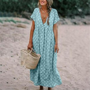 New Womens Boho Deep V Neck Polka Dots Floral Print Fashion Baggy Tunic Long Pleated Dress Loose Kaftan Beach Holiday Sundress