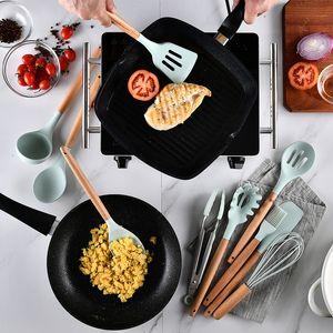 Ins Hot Sale Silicone Приготовление пищи Уборки Установить нелегкий шпатель Swovel деревянная ручка для приготовления пищи набор с ящиком для хранения кухонные инструменты HHE3372