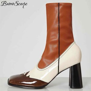 Buono Scarpe Retro Femmes Bottines Bottines Véritable Cuir High Heel Chaussures Patchwork Chaussettes élastiques Bottes Bottines pour femmes 201126
