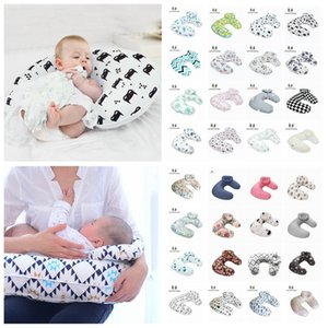 Baby print Nursing Pillows Maternity U Shaped Breastfeeding Pillow Cartoon Crown Bear Swan Elk Infant Cuddle Feeding 5pcs LJA2273