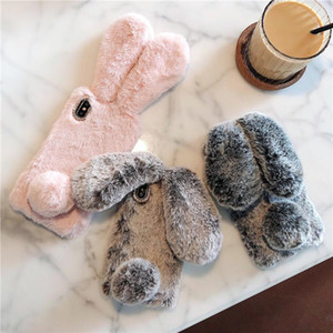 3D Lovely Bunny Rabbit Hair Plush Fuzzy Fluffy Soft Big Ear Case for IPhone 11 Pro max X XS MAX XR 8 7 6 6s Plus Phone Cover Cases
