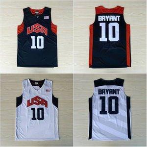 Costurado 10 Bryant Basquete Jersey Mens EUA Dream Team Jersey Costurada Azul Branco Branco Manga Curta Camisa S-XXL