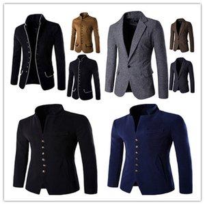 Outono Solid Mens Blazers Casual Designer Mens Slim Roupas Moda Mens Outerwears com Único peito
