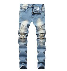 Dropshipping Biker Jeans Men's Distressed Stretch Ripped Biker Jeans Men Hip Hop Slim Fit Holes Jeans Cotton Pants