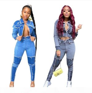 Women Jeans Set Newest Fashionable Patchwork Long Sleeves Short Jacket + High Waist Skinny Pencil Jeans Cool Girls Sweatwear Denim Sets
