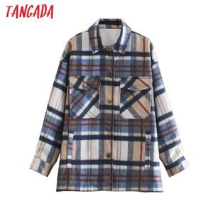 Tangada Femmes Paies Jacques épais Jet de manteaux en vrac manches longues poche poche mât de style 5z24