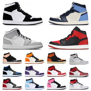 2020 New Arrivals scarpe da uomo donna Retro 1 Jumpman Court Purple Pine Green Mens Womens Basketball Shoes Travis Scotts Bloodline Crimson Tint Fearless Sneakers lusso