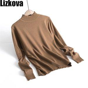 LIZKOVA hiver 50% de laine Tops Femme Cachemire tricoté turtleneck Pull classique Soft Pullover 201221