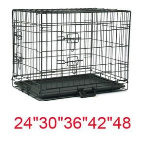 """20""""&48"""" Dog Crate Kennel Folding Metal Pet Cage 1-2 Door Indoor Outdoor Black"""
