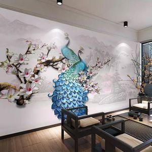 Пользовательские настенные росписи 3D стереоскопическая рельеф синий павлин магнолия цветок искусства стены роспись спальни гостиная домашняя декор обои