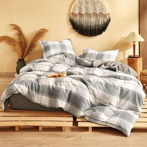 A B Surface Design Plain-Grained Bedding Set 1.2 1.5 1.8 2M Simple Style Non-Fading Bed Cover And Pillow Four-Piece Set