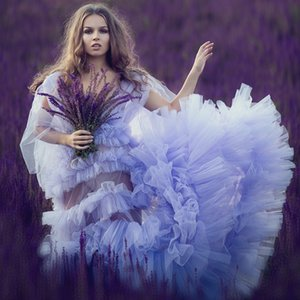 Lavender Maternity Dresses for Photoshoot A Line Tiered Skirt Boudoir Lingerie Puffy Tulle Cloak Women Pregant Dress