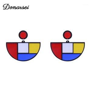 Donarsei Pendientes de acrílico geométricos de color simple de Donarsei para las mujeres de la moda de la moda Pendientes Pendientes Party1