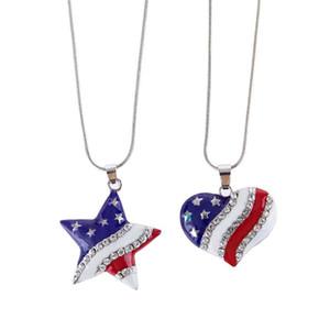 Флаг в форме сердца Подвеска Climms США Американский флаг Кристалл Ожерелье и американский флаг Пентаграммы Ожерелье Старая слава ожерелья подарок