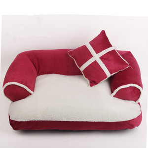 Luxury Double-Cushion Pet Dog Sofa Beds With Pillow Detachable Wash Soft Fleece Bed Warm Small Dog Bed BWD3178
