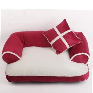 Lüks Çift Yastık Pet Köpek Kanepe Yatakları ile Yastık Ayrılabilir Yıkama Yumuşak Polar Yatak Sıcak Küçük Köpek Yatak BWD3178