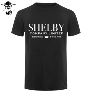 Shelby Company Limited Inspired by Peaky Blinders Printed T-Shirts Top Tee 100% Cotton Humor Men Crewneck Tee Shirts Black Style Y1114