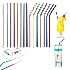 6*267mm Stainless Steel Straw Colorful Straw Bend And Straight Reusable Metal Drinking Straw Clean Brush Bar Party Drink Tools W95955
