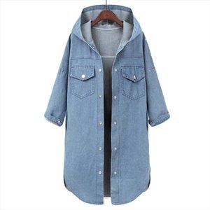 Весной Осень Новый Плюс Размер Джинсовая Куртка Пальто Женщины Свободные Базы Капюшона Куртки Blue Womens С Длинным Рукавом Повседневная Джинсы Джинсы F469