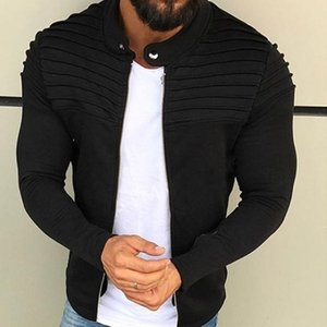 Men Jacket Zipper Cardigan Men's Autumn Pleats Slim Stripe Fit Jacket Coat Long Sleeve Coat Sports Casual
