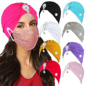 Women crystal water drop India hat Turban Cap with Button Hair Loss Cancer Chemo Hat Ear Protection Solid Color lady Beanie Headwrap