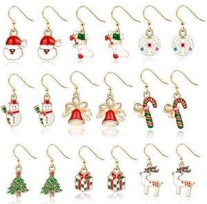 Weihnachts-Ohrringe Weihnachts-Ohrhaken Geschenke Weihnachtsbaum Hirsch Weihnachts-Claus Form Ohrring Frauen Designer Schmuck Weihnachtsdekoration GWC4081