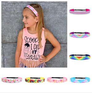 Women Tie-Dye Headbands Girls Gradient Rainbow Hair Sticks Ladies Teeth Non Slip Headwrap Fashion Hair Hoop Headdress for Adult Kids E120409