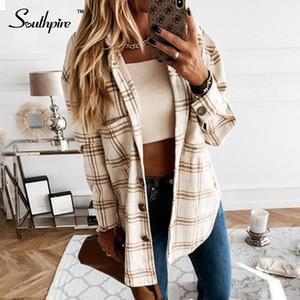 Southpire Chemise à manches longues à manches longues Femmes Chemise Collar Collar Down Down Mode Dames Casual Blouses Simple Loose Top Vêtements 2020