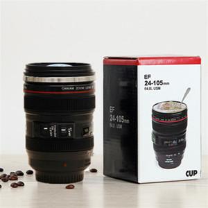 الإبداعية 6th الجيل 400 ملليلتر الفولاذ المقاوم للصدأ بطانة السفر الحرارية القهوة كاميرا عدسة الكؤوس القدح مع غطاء غطاء غطاء كانام