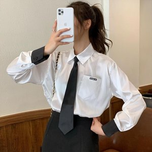 2020 Korean Spring Fashion Women blouses with tie Preppy style pocket Tops shirts Long Sleeve Blouses Female Blusas Mujer