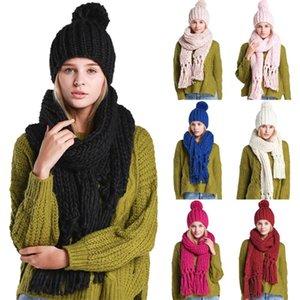 여성 겨울 2pcs 솔리드 컬러 케이블 니트 Pompom Beanie Hat Tassel Long Scarf Set M89E