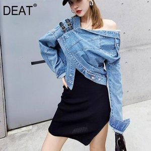 DEAT 2020 Autumn asymmetrical collar full sleeves single breasted blue denim short jacket female high stret coat WN52305M