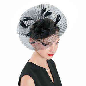 Luxury-Fedora Hat Black Fascinator For Women Elegant Polyester Headpiece Wedding Fashion Party Net Yarn Feather Cap