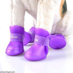 4pcs S M L Pet Dog Rain Shoes Anti Slip Waterproof Pet Dog Cat Rain Shoes 7 Colors pet Rubber Boots for Four Seasons