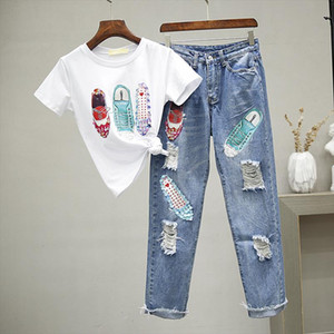 Pearl Sequined Beaded Shoes Cartoon 2 Pieces Set Women 2021 Summer Holes Denim Jeans Short Sleeve T Shirt Casual Pant Suits