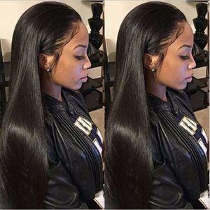 Mujeres químicas de fibra de cabello Malla elástica delantera Peluca de encaje de encaje suave natural Negro Negro Long Long Synthetic Wig