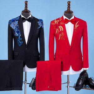 European station new polyester suit suit stage chorus conductor dress wedding host costume singer costume male studio