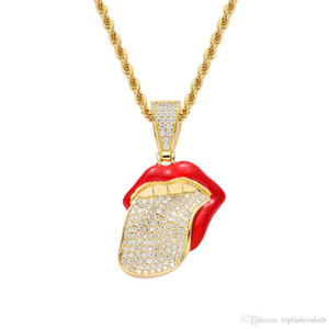 Hip Hop Micro Paved Cubic Zirconia Bling Ice Out Gold Silver Mouth Tongue Pendants Necklace for Men Rapper Jewelry Silver