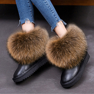 G&Zaco Women's Winter Genuine Leather Natural Real Fox Snow Short Ankle Fur Boots Female Flat Heel Shoes T200111