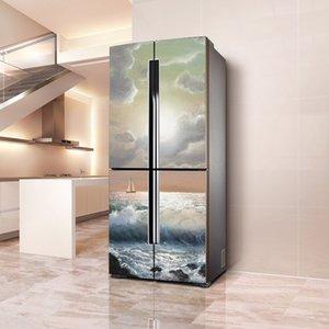 Filme à prova d 'água e Óleo à prova de óleo adesivos decorativos adesivos auto-adesivos pvc único aberto duplo aberto porta de geladeira decoração t200610