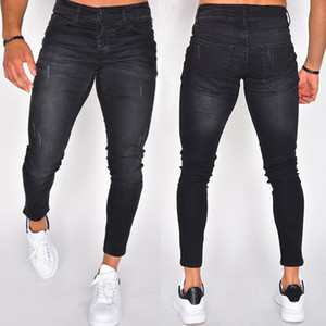 Mens Designer Jeans Stretch Black Distressed Mid Cintura Mid Cintura Papel Pantalones Lápiz Multi Pocket Moda Casual Ropa Masculina