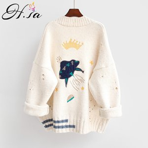 HSA 2020 Autumn Winter Women Cartoon Embroidery Cardigans Poncho Single Breasted Knit Sweater Harajuku out Top Q1116