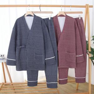 Men Women Couple Pajamas Set Harajuku Japanese Style Kimono Tops Pant Homewear Sleepwear Casual Loose Pyjamas Knitting Cardigan