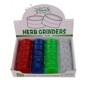 60mm três camadas moedores plásticos moedas transparentes de plástico conjunto de fumar peças Moinho de cigarro multicolor 1 6xf j2