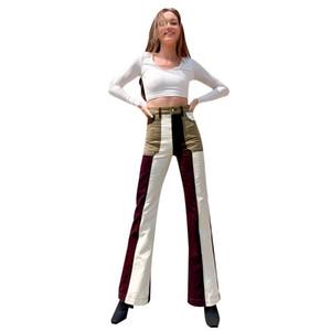 Chic Design Design Donne Contrasto Colore Patchwork Patchwork Jeans Autunno Autunno Autunno Autunno Streetwear Streetwear Pantaloni in denim Bell-Bell-Tothing