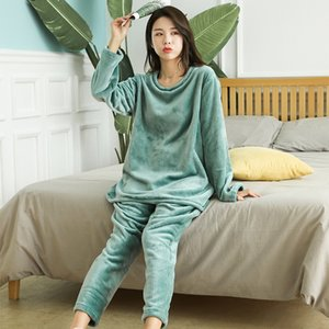 Ms. Flannel Pajamas Autumn and Winter 2020 Long-sleeved Soft Pullover Thick Warm Velvet 2 Pieces Set Home Suits