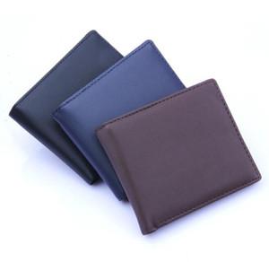 DHL50pcs Wallet Men PU Plain Foldable Open Cross Short Purses Mix Color
