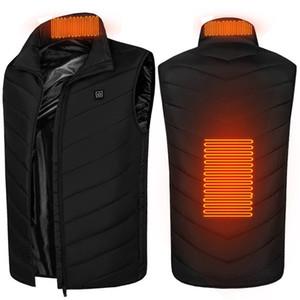 Unisex USB зарядки самообогревания мягкое пальто Wase Winter Wadded стеганые стеганые жилет жилет куртки спортивные открытый лыжную одежду верхняя одежда F120202