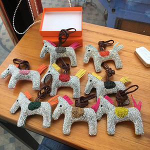 Diamond Horse Keychain Animal Key Chain Women Bag Charm Pendant Accessories Fashion Jewelry new 8 colors without box